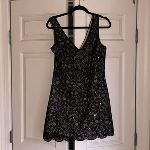 Sleeveless Sequin Black Minidress